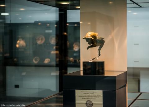 Il Toro cozzante nell'allestimento espositivo al museo archeologico della Sibaritide
