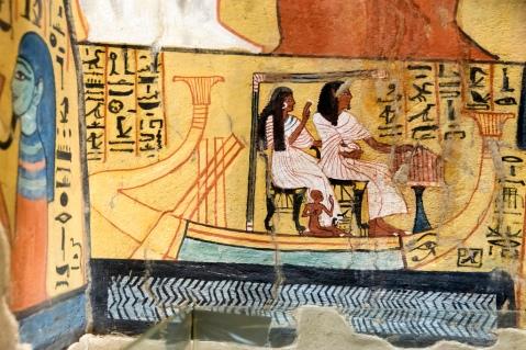 Un dettaglio degli affreschi della tomba di Pashedu a Deir el Medina