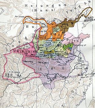 La mappa del regno di Chu e degli altri Stati belligeranti alla metà del I millennio a.C.