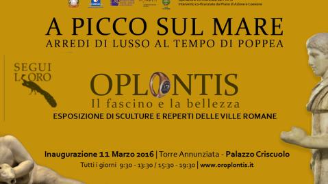 """Il manifesto della mostra """"A picco sul mare"""" allestita a Palazzo Criscuolo a Torre Annunziata sui tesori di Oplontis"""