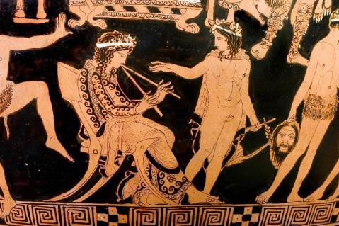 Nel dettaglio del Vaso di Pronomos la raffigurazione del flautista Pronomos, musicista beotico molto noto ad Atene