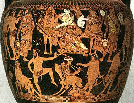 La scena centrale del vaso di Pronomos con in alto Dioniso e Arianna, e sotto il flautista Pronomos