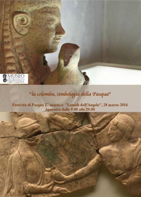 Il manifesto del museo archeologico di Vibo Valentia per le aperture di Pasqua e Pasquetta
