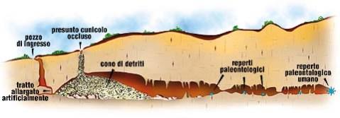 La grotta di Lamalunga con la posizione, in fondo, dei resti fossili dell'Uomo di Altamura