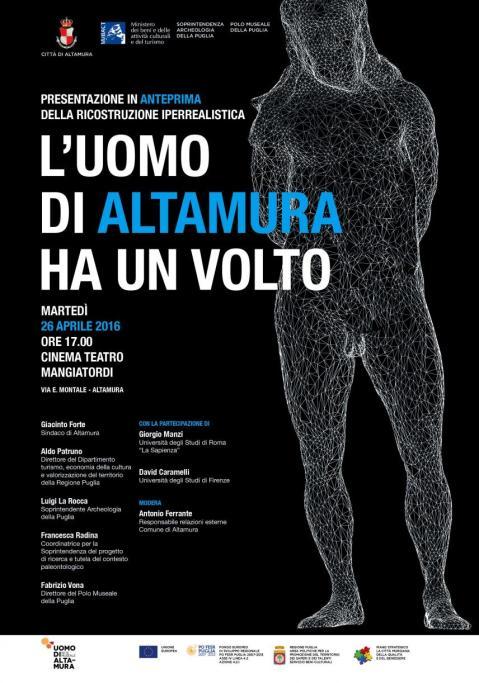 Il manifesto della presentazione-evento del volto dell'Uomo di Altamura il 26 aprile 2016