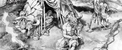 La ricostruzione dell'Uomo di Altamura quando viveva nella grotta