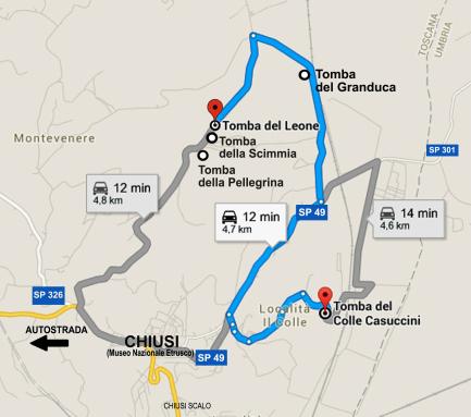 L'anello stradale creato negli anni '20 del '900 per visitare le tombe etrusche delle necropoli di Chiusi