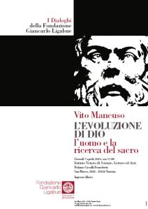 La locandina dell'incontro a Venezia con Vito Mancuso promosso dalla Fondazione Giancarlo LIgabue