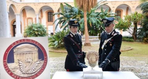 La Testa di Ade a Palermo dove è stata riportata dal nucleo Carabinieri Tutela Patrimonio Culturale