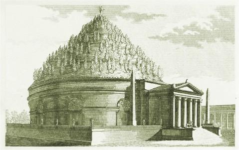 Una delle tante ricostruzioni del mausoleo di Augusto: questa è di Luigi Canina del 1851