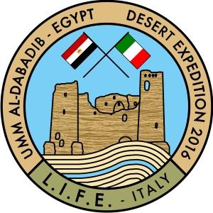 Logo della missione italo-egiziana 2016 a Umm al-Dabadib del progetto Life