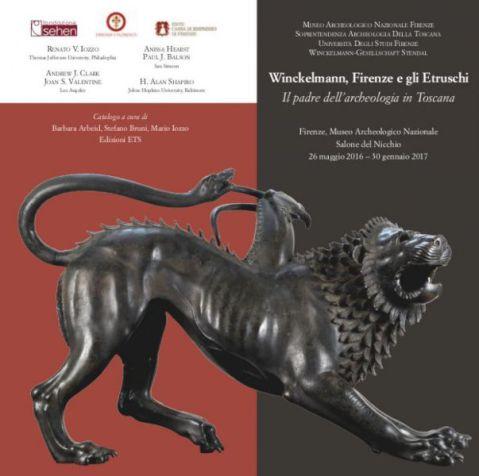 """Il manifesto della mostra """"Winckelmann, Firenze e gli Etruschi. Il padre dell'archeologia in Toscana"""" al museo Archeologico nazionale di Firenze"""