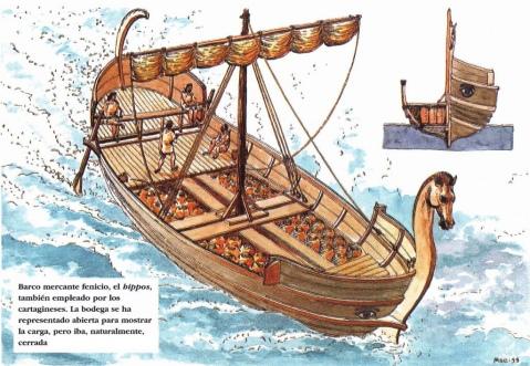 Disegno con la ricostruzione di un hippos, imbarcazione fenicia