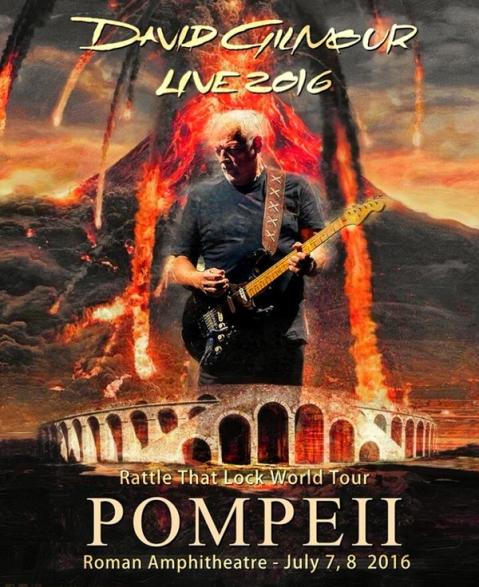Il manifesto del concerto di David Gilmour a Pompei il 7 e 8 luglio 2016