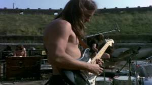 David Gilmour con i Pink Floyd nel 1971 a Pompei