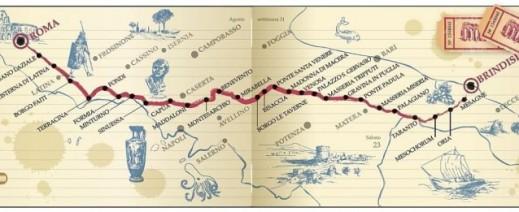 Il tracciato della via Appia voluta nel 312 a.C. dal censore Appio Claudio Cieco