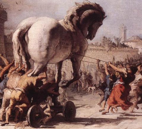 """""""La passeggiata del cavallo i Troia"""" affrescata da Giandomenico Tiepolo nella seconda metà del XVIII secolo nella villa di famigli a Zianigo nella terraferma veneziana"""