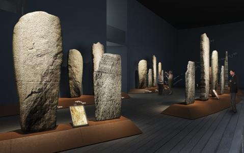 """La sala delle stele antropomorfe, """"pezzo forte"""" del museo archeologico parte integrante del parco dell'area megalitica"""