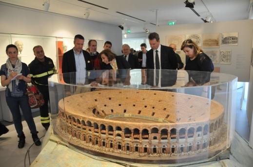 Il grande plastico dell'Arena che introduce la sezione dedicata all'anfiteatro romano di Verona