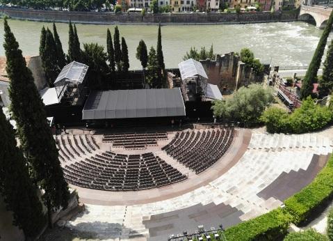 L'affaccio del museo archeologico di Verona a strapiombo sul teatro romano