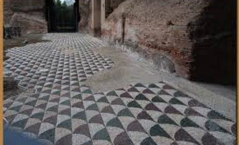 Il grande mosaico alle Terme di Caracalla a Roma restaurato da Bulgari
