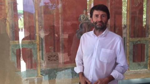 Il ministro per i Beni culturali Dario Franceschini a Pompei