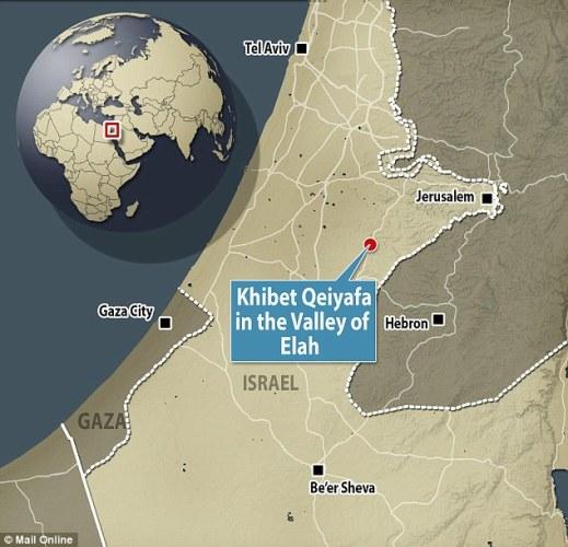 La posizione del sito israeliano di Khirbet Qeiyafa, l'antica Shearaim