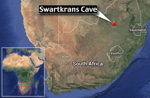 La carta del Sudafrica con la posizione della grotta di Swartkrans