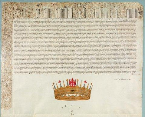 La bolla papale del 27 agosto 1569 con la quale Papa Pio V assegnava a Cosimo de Medici il titolo di Granduca di Toscana