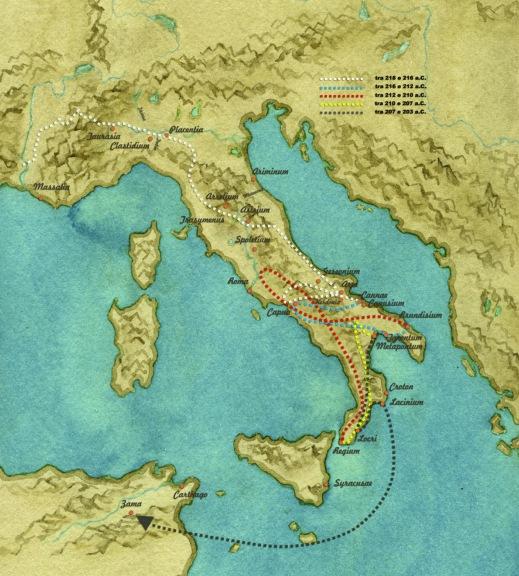 Il viaggio di Annibale dal passaggio delle Alpi a Canne e al suo ritorno in Africa