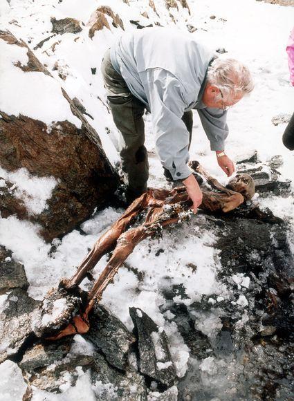 La mummia del Similaun quando è stata ritrovata sul ghiacciaio nel settembre 1991