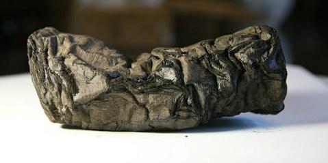 Uno dei rotoli papiracei recuperati 250 anni fa dalla Villa dei Papiri di Ercolano
