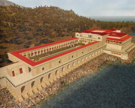 Ricostruzione della Villa dei Papiri di Ercolano appartenuta alla famiglia dei Pisoni