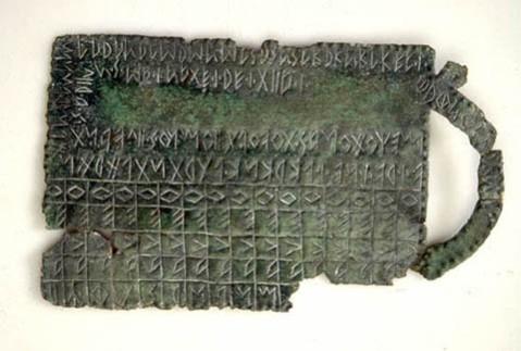 Tavoletta scrittoria con caratteri dell'alfabeto venetico conservata al museo Archeologico atestino di Este