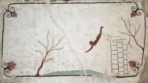 La lastra superiore della Tomba del Tuffatore, capolavoro del 480 a.C.
