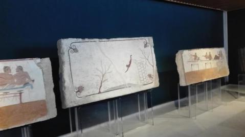 La tomba del tuffatore nella rinnovata sala Mario Napoli nel museo Archeologico nazionale di Paestum