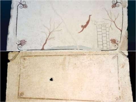 Le due tombe pestane a confronto: sopra la più famosa tomba del tuffatore, sotto l'inedita Tomba delle palmette (foto Paolo De Luca)