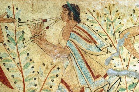 """""""La musica perduta degli Etruschi"""": particolare della tomba dei Leopardi a Tarquinia"""