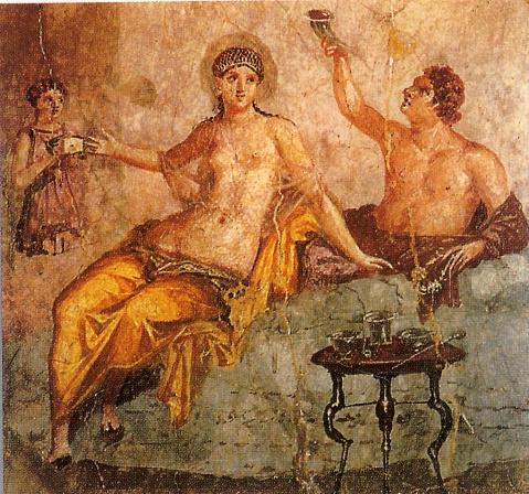 Nell'affresco una tipica scena di un banchetto all'epoca di Roma antica
