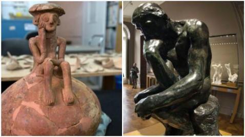 """Secondo gli archeologi israeliani la statuetta in terracotta di 3800 anni fa sembra precorrere il """"Pensatore"""" di Rodin"""