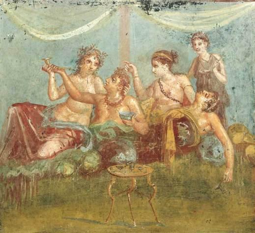 Un tipico banchetto degli antichi romani in un affresco pompeiano