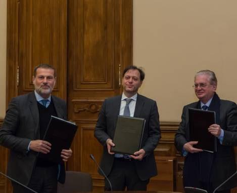 I firmatari del protocollo di San Pietroburgo: da sinistra, Massimo Osanna (Pompei), Paolo Giulierini (Mann), Michail Piotrovskij (Ermitage)