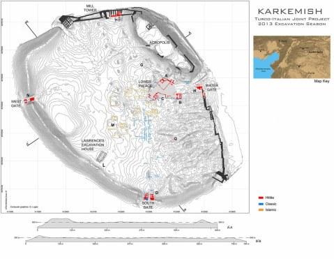 La mappa del sito archeologico di Karkemish studiato dalla missione archeologica italo-turca guidata dall'università di Bologna