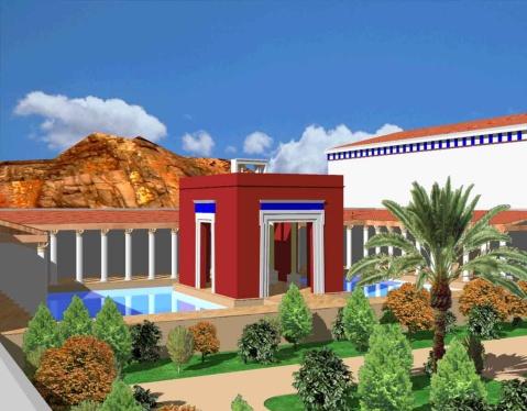 Ipotesi di ricostruzione del grande giardino con irrigazione artificiale a Petra