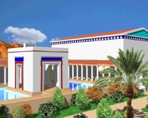 Ipotesi di ricostruzione dell'isola-padiglione della grande piscina di Petra