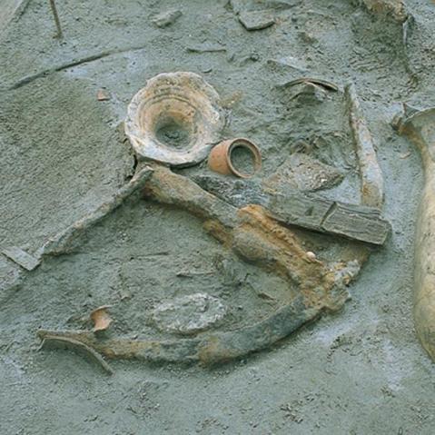 Un'anfora in corso di scavo visibile in uno dei padiglioni del Museo delle Navi Antiche di Pisa