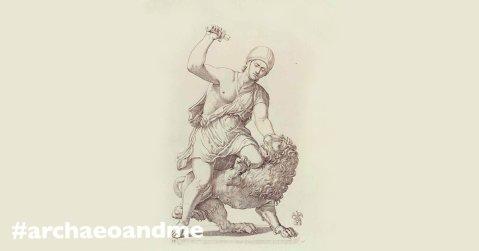 """Il gruppo del """"Gladiatore che uccide il leone"""" in un'incisione della seicentesca Collezione Giustiniani"""
