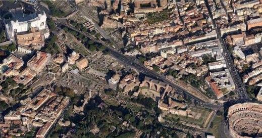 Veduta generale dell'area archeologica centrale di Roma dal Campidoglio al Colosseo