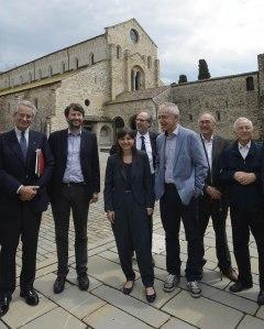 Il ministro Dario Franceschini ad Aquileia con il presidente della Fondazione Zanardi Landi e il governatore della Regione Debora Serracchiani