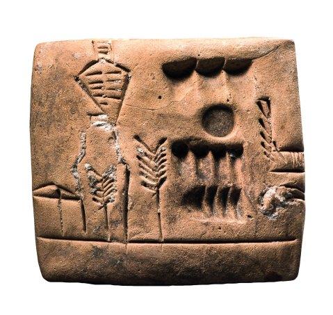 Tavoletta in argilla con pittogrammi proveniente dalla Mesopotamia meridionale (collezione Ligabue)